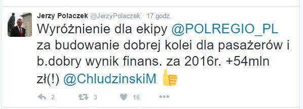 O dodatnim wyniku PolRegio poinformował Jerzy Polaczek.Źródło: twitter.com