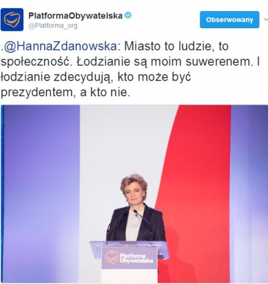 Hanna Zdanowska podczas sobotniej Rady Krajowej PO (fot.twitter/platforma_org)
