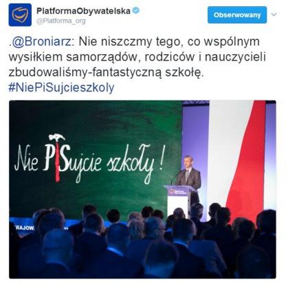 Sławomir Broniarz podczas rady krajowej PO (fot.twitter/platforma)org)