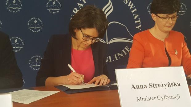 Ogólnopolska Sieć Edukacyjna: Anna Streżyńska podpisała umowę o pilotażu w Lublinie