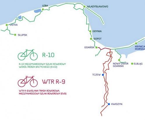 Mapa schematyczna Pomorskich Tras Rowerowych (fot.pomorskie.pl)