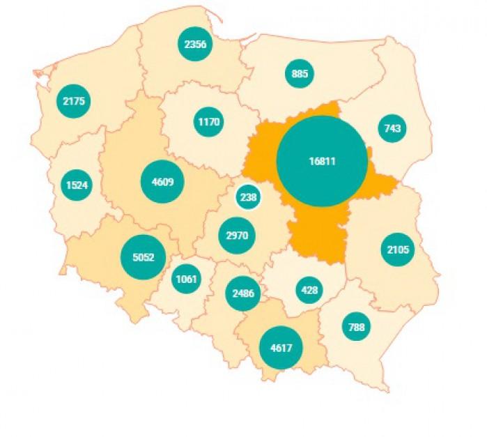 Liczba cudzoziemców w poszczególnych województwach - stan na 11 kwietnia 2017 r. (źródło: migracje.gov.pl)