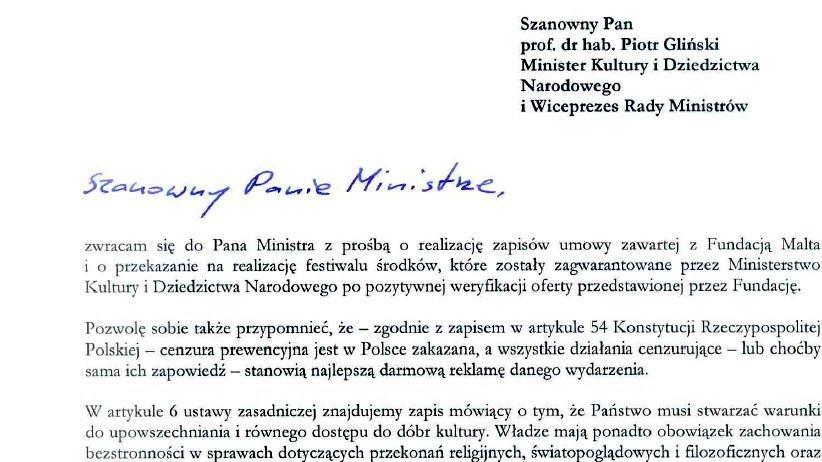 Fragment listu prezydenta Jacka Jaśkowiaka do ministra Piotra Glińskiego. (fot. UM Poznań)