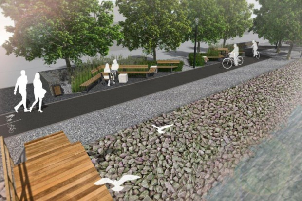 Projekt, którego koszt to ponad 4,2 mln zł, przewiduje powstanie stacji naprawy rowerów, ciągu pieszo-rowerowego, przenośnych toalet i oświetlenia (fot.umwz)
