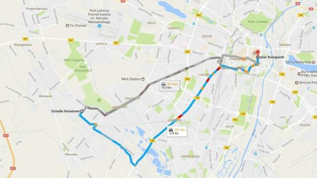 Poznań: Przewozy ZTM na mapach Google