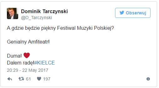 Dominik Tarczyński pisze, że opolski festiwal udało się przenieść do Kielc.
