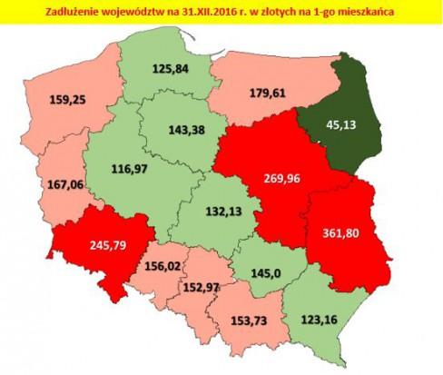 Mapa zadłużenia i dochodów województw w Polsce