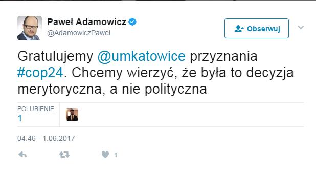Twitter Paweł Adamowicz