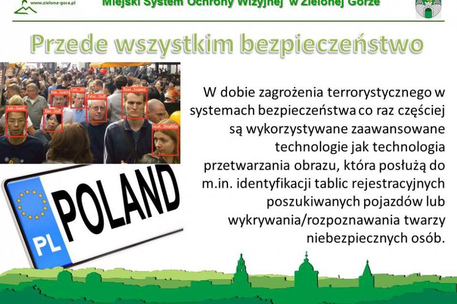 Slajd z prezentacji nowego monitoringi w Zielonej Górze