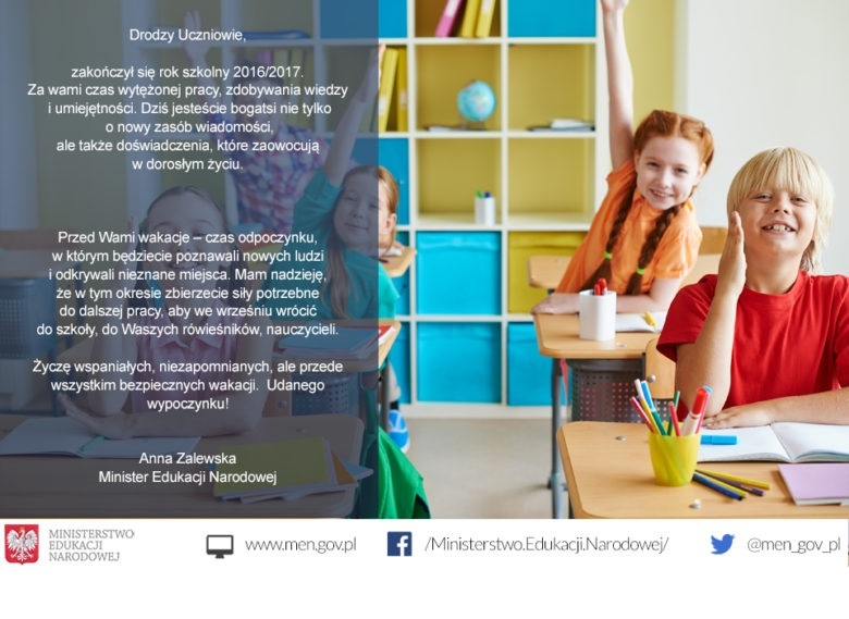 Życzenia od minister edukacji na zakończenie zajęć szkolnych (fot.men.gov.pl)