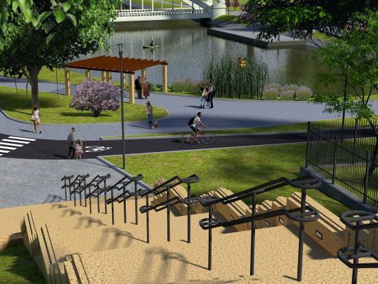 - Chcielibyśmy aby w przyszłości spełniały funkcję rekreacyjną dla odwiedzających park – mówi Mark Suwalski, zastępca prezydenta Świdnicy (wizualizacje: Krzysztof Baran/mat.pras.)