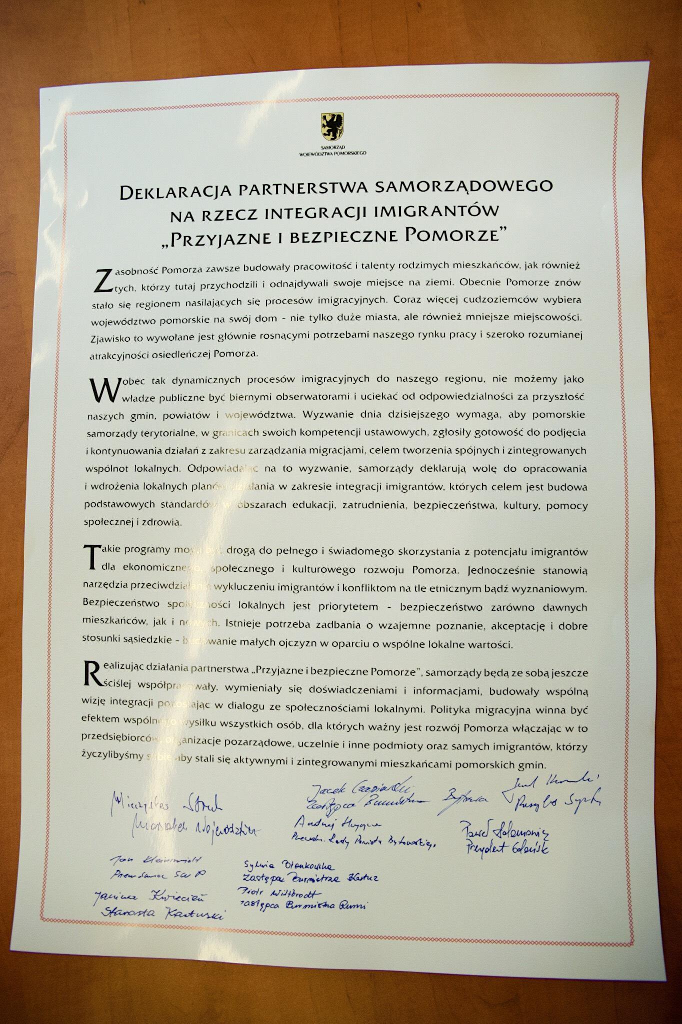 Deklaracja Przyjazne i bezpieczne Pomorze. (fot. UM Gdańsk)