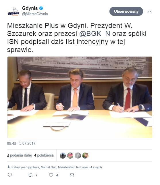 W Gdyni lokale w ramach programu Mieszkanie Plus pomoże wybudować prywatny inwestor. Fot. twitter.com - Gdynia