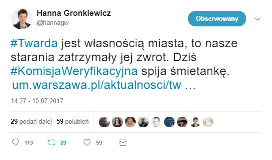 źródło: twitter Hanna Gronkiewicz-Waltz