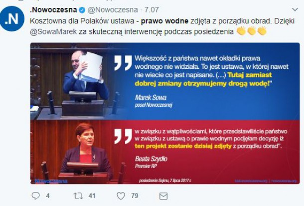 Opozycja chwali się, że wstrzymała uchwalanie Prawa wodnego (fot.nowoczesna.pl)