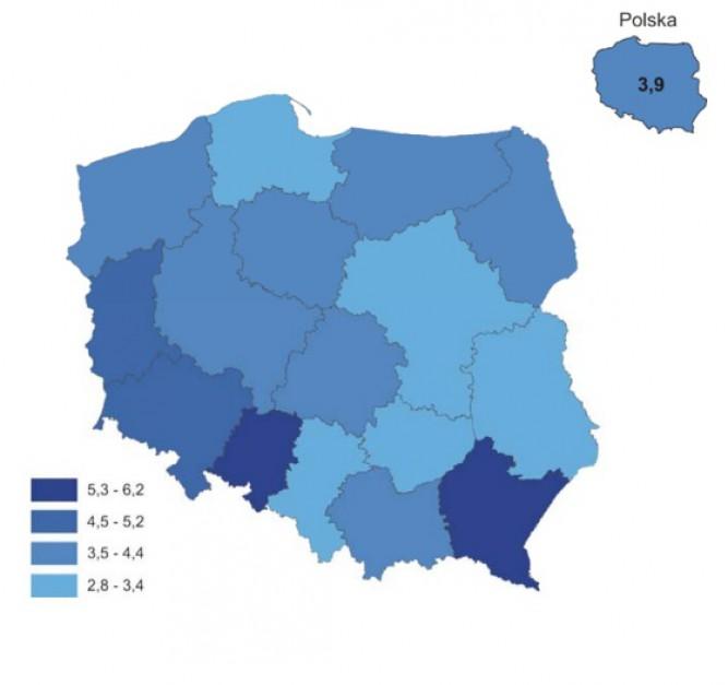 Kluby sportowe na 10 tys mieszkańców według województw w 2016 r. (źródło: GUS)