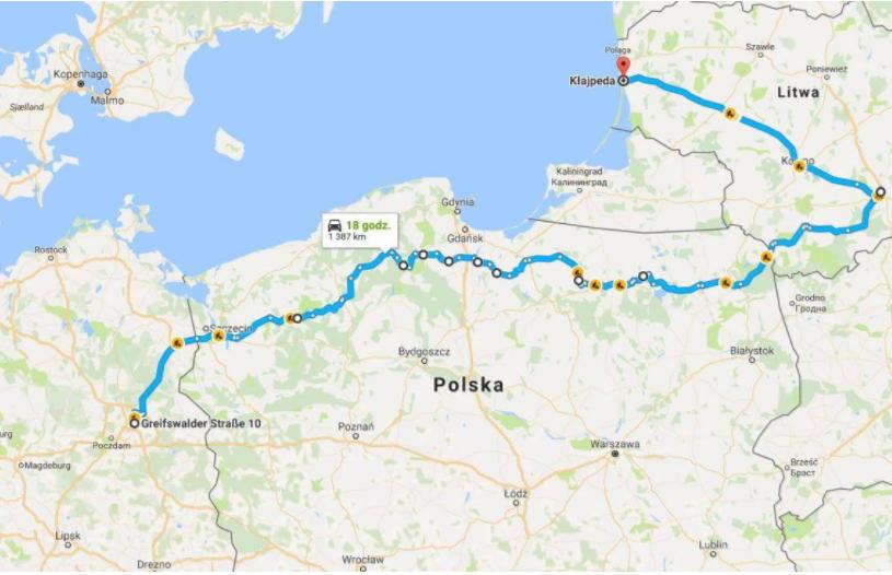 Trasa miałaby ok. 1200 km długości i łączyłaby Berlin z np. Kłajpedą lub Tallinem.Mat. : pomorskie.pl