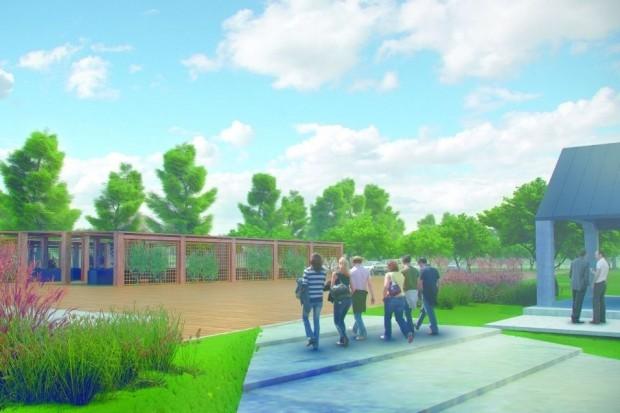 W ramach kompleksu zaplanowano m.in. piaszczystą plażę nad Rabą z promenadą, skateparki, boiska sportowe, siłownie na powietrzu, place zabaw i wygodne parkingi (fot.mat.prasowe)