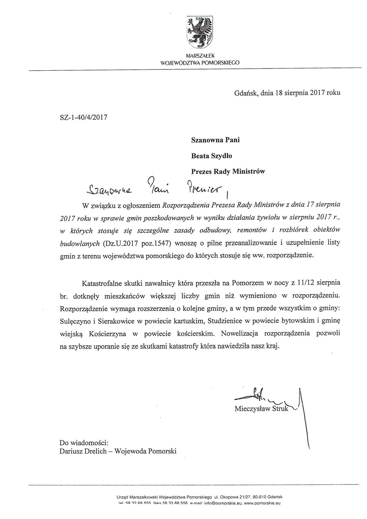 List marszałka do premier Beaty Szydło, źródło: pomorskie.eu