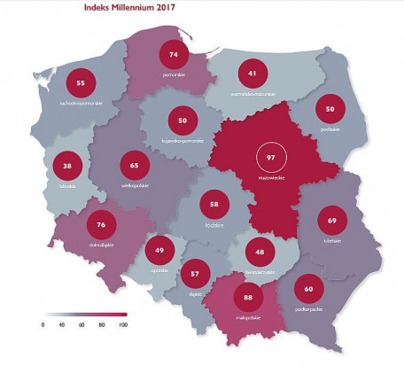 Ocena innowacyjności poszczególnych województw w 2017 roku (fot.mat.prasowe)