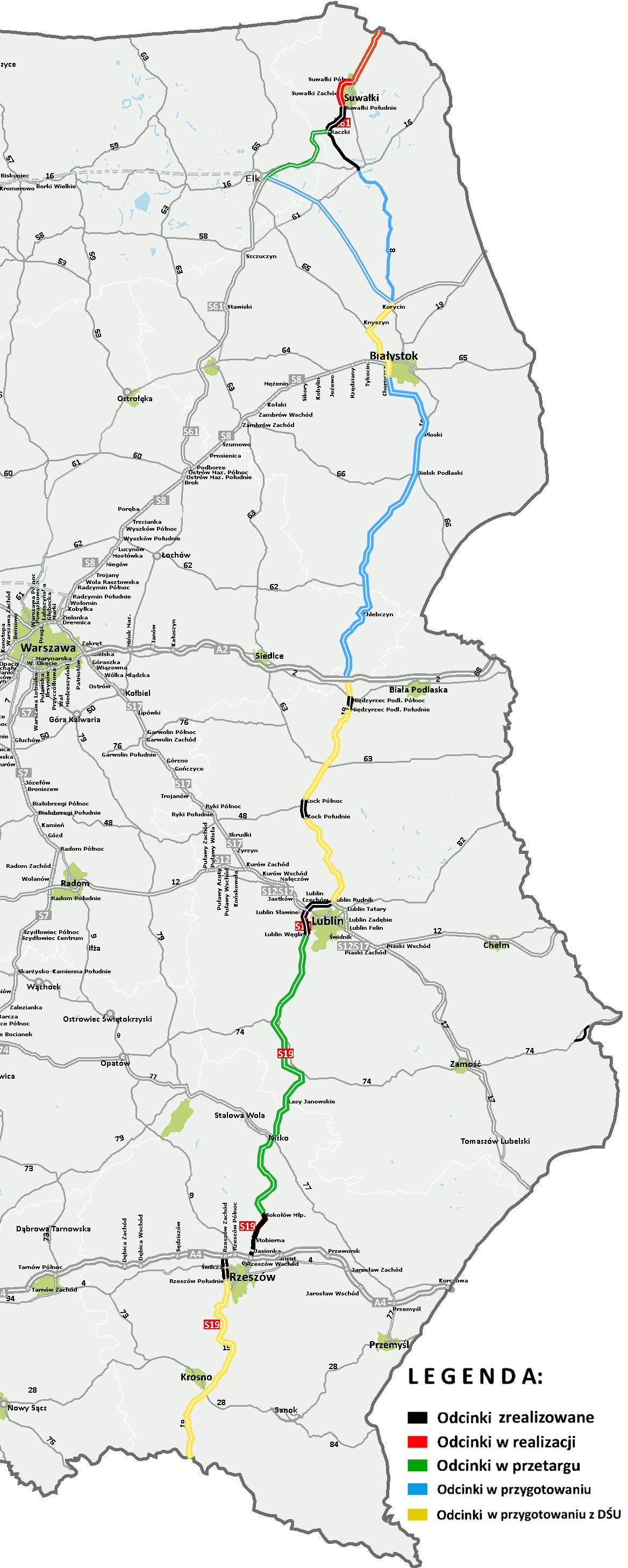 Stan realizacji Via Carpatii (Źródło: GDDKiA)