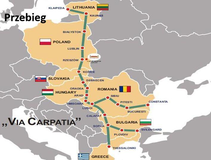 Via Carpatia ma prowadzić od krajów bałtyckich do południowo - wschodniej Europy.Źródło: Ministerstwo Infrastruktury i Budownictwa