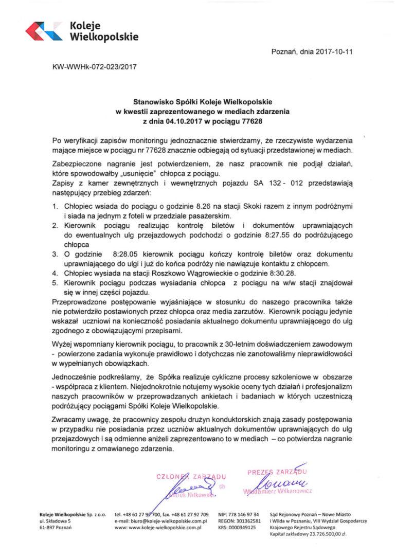 Oświadczenie Kolei Wielkopolskich