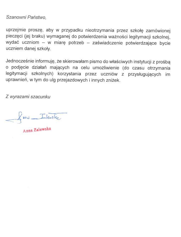 List Anny Zalewskiej w sprawie akceptowania zaświadczeń wydawanych przez szkołę - część druga