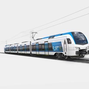 """Koleje Mazowieckie rozstrzygnęły przetarg na dostawę 71 elektrycznych zespołów trakcyjnych. Pojazdy dostarczy firma Stadler Polska, która zaproponowała składy typu """"Flirt"""" (i cenę 2,21 mld zł). Pierwsze pociągi mają dotrzeć do przewoźnika już w przyszłym roku, całość kontraktu ma zostać zrealizowana w roku 2022. Poza Stadlerem w przetargu wystartowały jeszcze: Newag oraz konsorcjum firm Pesa Bydgoszcz i ZNTK """"Mińsk Mazowiecki"""". Fot. Mat. Stadler Polska"""