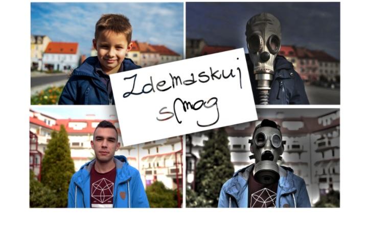 Plakaty promujące kampanię antysmogową w Wodzisławiu Śląskim.