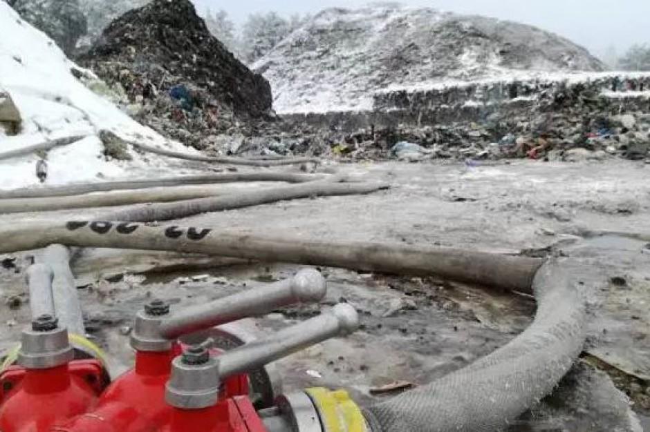 Pożar składowiska odpadów w Studziankach