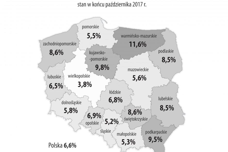 Stopa bezrobocia w miastach, powiatach i województwach - październik 2017