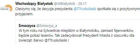 Decyzja prezydenta Białegostoku zyskała aprobatę wielu internautów. Fot. twitter.com