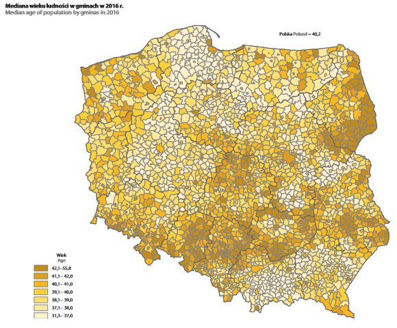 Mediana wieku ludności w w gminach. Mat. GUS