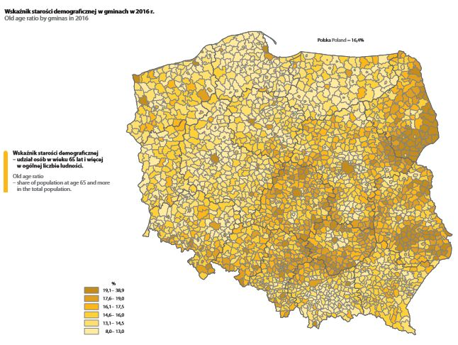 Wskaźnik starości demograficznej. Mat. GUS