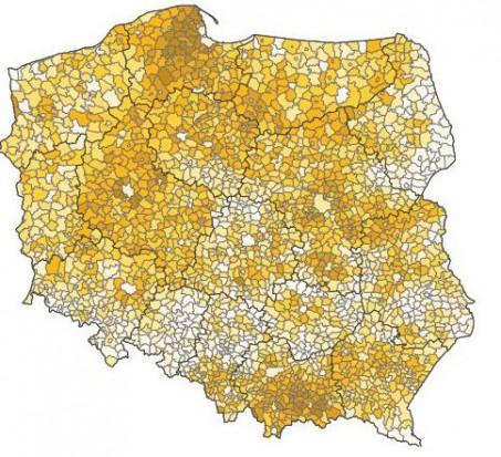 Odsetek dzieci w ludności w gminach Polski 2016