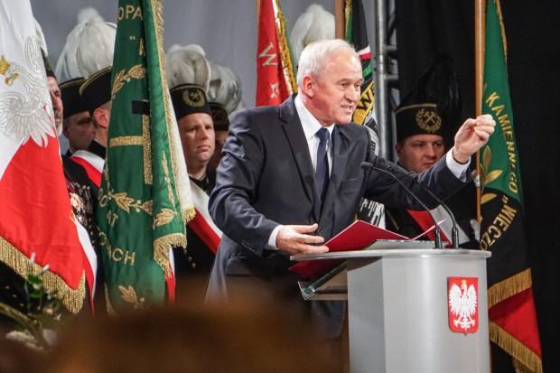 Minister Tchórzewski zwracał się do górników podczas wizyty w Rudzie Śląskiej 1 grudnia. (fot. PTWP, Michał Oleksy)