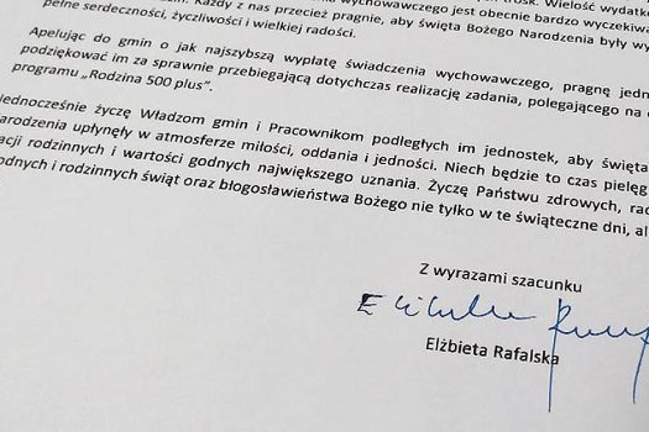 Elżbieta Rafalska, apel ws. 500 plus: Nie będzie 500 plus przed Świętami?