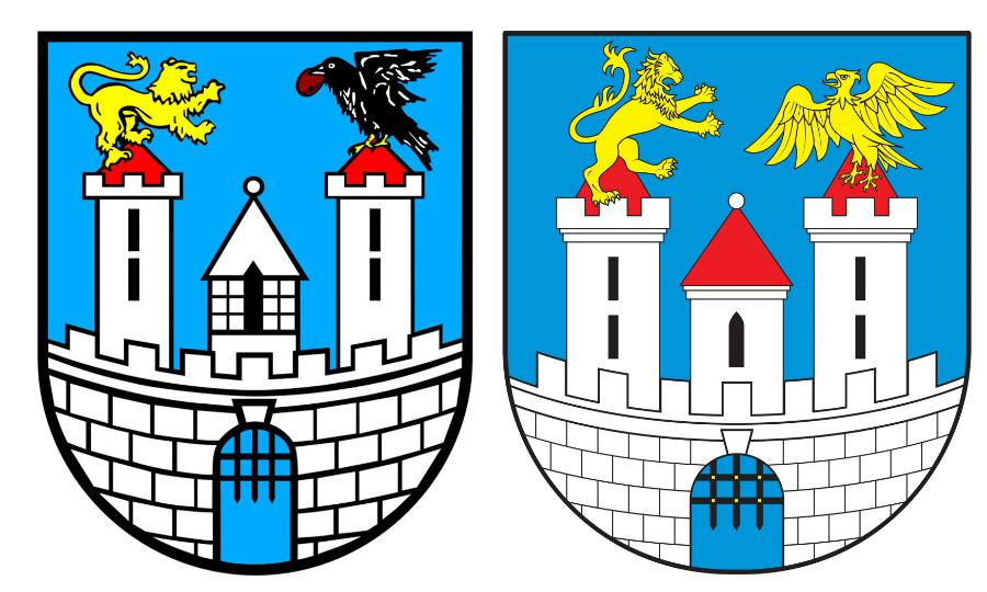 Obecny herb Częstochowy (po lewej) oraz projekt nowego herbu (po prawej). Źródło: czestochowa.pl