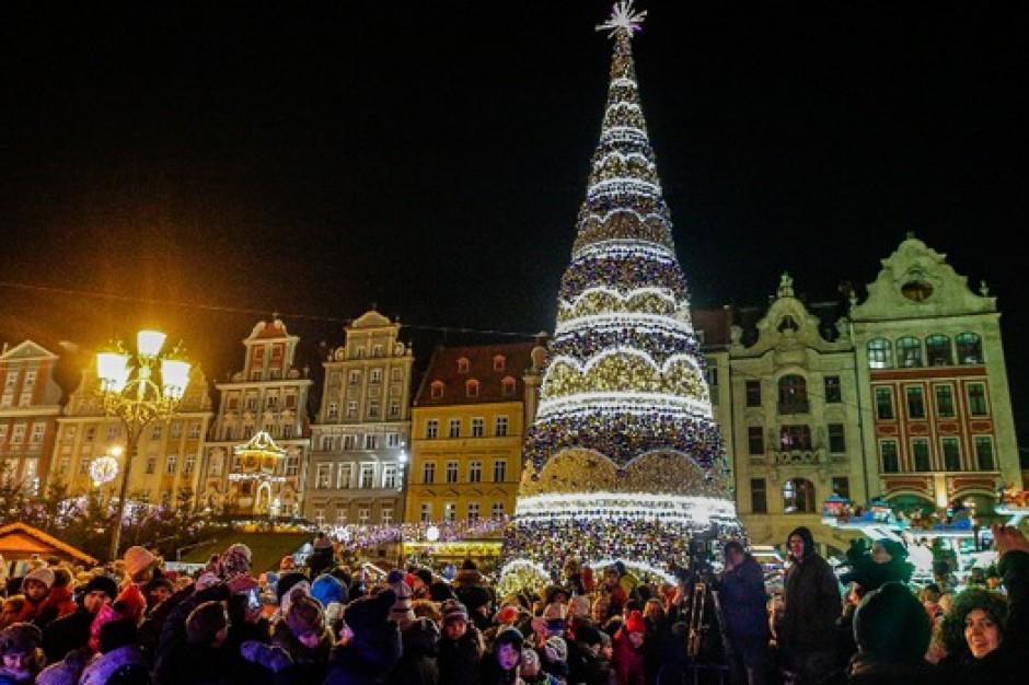 Wrocław: Choinkę przed urzędem rozświetliła energia z odnawialnych źródeł