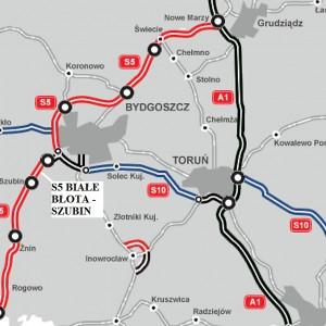 KUJAWSKO-POMORSKIE. 10 km za 278 mln zł    1. Odcinek S5 Białe Błota - Szubin (9,7 km). Drogę za 278 mln zł brutto od października 2015 r. realizuje Impresa Pizzarotti. Trasa o nawierzchni betonowej ma być gotowa w trzecim lub czwartym kwartale 2018 r.   fot. GDDKiA
