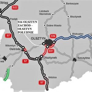 WARMIŃSKO-MAZURSKIE. 10 km za 415 mln zł    1. S16 - Obwodnica Olsztyna, odcinek Olsztyn Zachód - Olsztyn Południe (10 km). Inwestycję za 415 mln zł brutto od sierpnia 2015 r. realizuje konsorcjum Intercor, Most z Sopotu. Asfaltowa trasa ma być gotowa w drugim lub trzecim kwartale 2018 r.   fot. GDDKiA