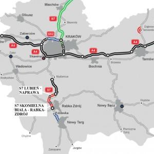 MAŁOPOLSKIE. 14 km za 1,22 mld zł    1. Odcinek S7 Lubień - Naprawa (7,6 km). Trasę za 558 mln zł brutto od czerwca 2016 r. realizuje konsorcjum IDS-Bud, Korporacja Altis Holding. Droga o nawierzchni asfaltowej ma być gotowa w trzecim lub czwartym kwartale 2018 r.   2. Odcinek S7 Skomielna Biała - Rabka-Zdrój wraz DK 47 Rabka-Zdrój - Chabówka (6,1 km). Trasę za 658 mln zł brutto od marca 2016 r. realizuje Salini Impregilo. Droga o nawierzchni asfaltowej ma być gotowa w trzecim kwartale 2018 r.   fot. GDDKIA