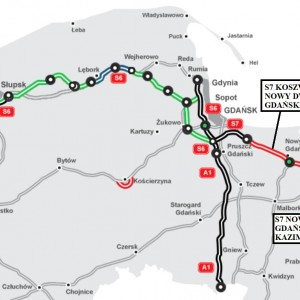 POMORSKIE. 40 km za 3,35 mld zł    1. Odcinek S7 Koszwały - Nowy Dwór Gdański (20,5 km). Kontrakt za 1,71 mld zł brutto od października 2015 r. realizuje Metrostav. Droga o nawierzchni asfaltowej ma być gotowa w trzecim lub czwartym kwartale 2018 r.   2. Odcinek S7 Nowy Dwór Gdański - Kazimierzewo koło Elbląga (19,1 km). Kontrakt za 1,64 mld zł brutto od października 2015 r. prowadzi Budimex. Droga o nawierzchni asfaltowej ma być gotowa w trzecim lub czwartym kwartale 2018 r.   fot. GDDKiA