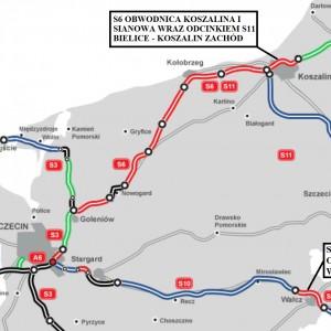 ZACHODNIOPOMORSKIE. 38 km za 1,15 mld zł    1. S6 - Obwodnica Koszalina i Sianowa wraz z odcinkiem S11 Bielice - Koszalin Zachód (20,1 km). Inwestycję za 691 mln zł brutto od marca 2016 r. prowadzi konsorcjum Porr, Polbud Pomorze. Asfaltowa trasa ma być gotowa w trzecim kwartale 2018 r.   2. S10 - Obwodnica Wałcza (17,8 km). Przedsięwzięcie za 461 mln zł brutto realizuje od listopada 2015r. Energopol-Szczecin. Trasa o nawierzchni asfaltowej ma być gotowa w drugim lub trzecim kwartale 2018 r.   fot. GDDKiA