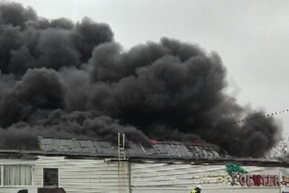 Pożar hali w Radomiu. Zawalił się dach, nie ma poszkodowanych