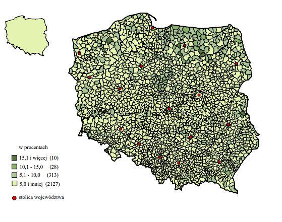 Udział ubogich beneficjentów w ogólnej liczbie ludności według gmin po uwzględnieniu w dochodach świadczenia 500+ w 2016 r. Mat. GUS