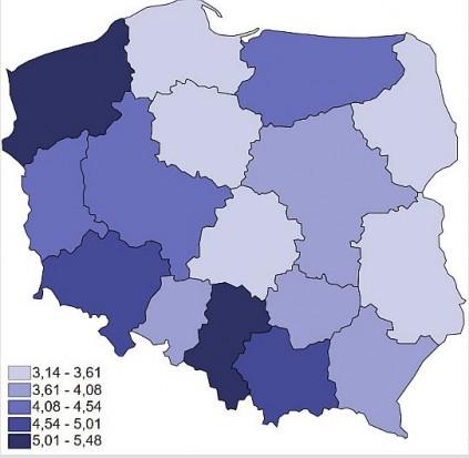 Średnie ceny za wodę dla gospodarstw domowych w Polsce w poszczególnych województwach