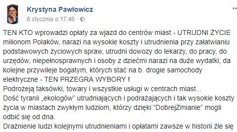 Facebookowy wpis Krystyny Pawłowicz na temat opłat za wjazd do centrów miast