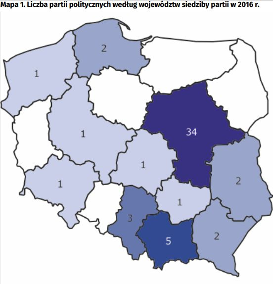 Najwięcej partii politycznych zarejestrowano na Mazowszu. (źródło: GUS)